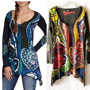 Desigual Femme Art To Wear Cotton Tunic Top Large